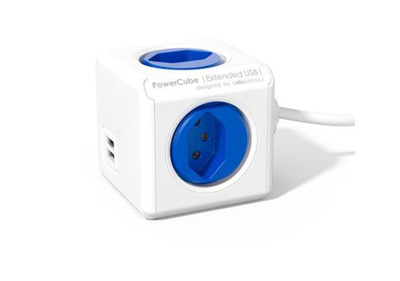 PowerCube Tischsteckdosenleiste blau