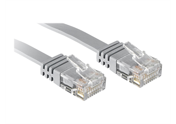 RJ45 Kabel 5m Cat6 UTP Flat Patch Cable grau