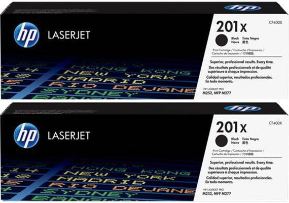 Toner HP 201X Black ca.2800S. 2er Pack CF400XD